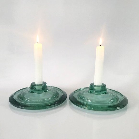 VTG Teal Round Disc Glass Candlestick Holders